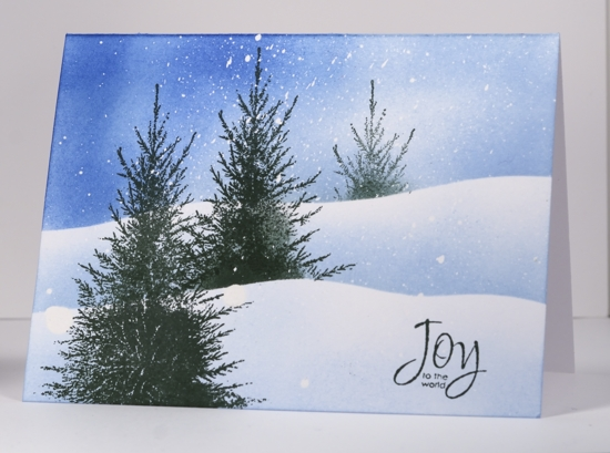 Three trees in snow tutorial Heather Telford