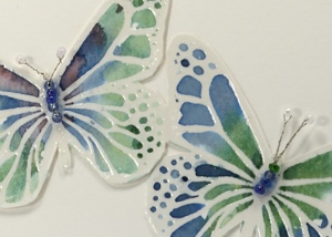 watercolour butterflies closeup
