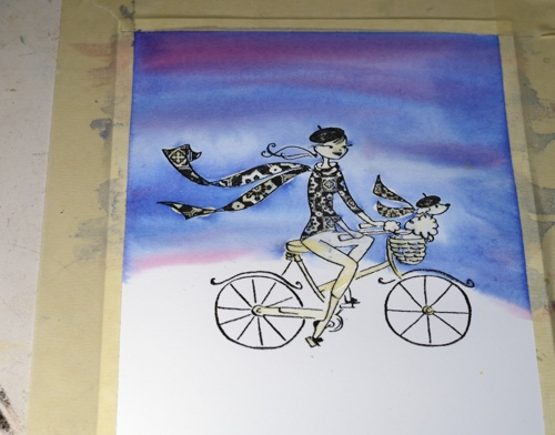 Watercolour cyclist2