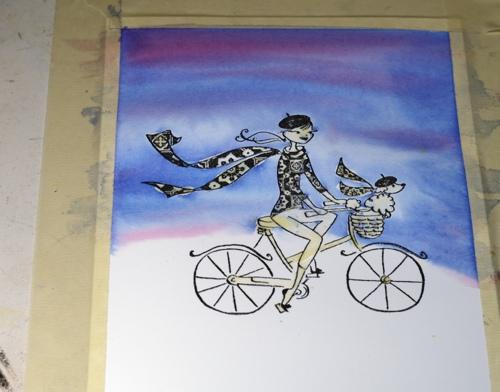 Watercolour cyclist2