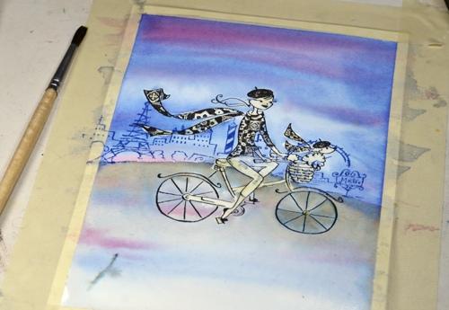 Watercolour cyclist3