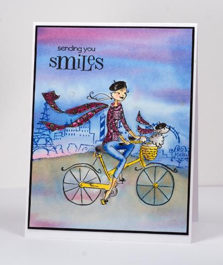 Watercolour cyclist