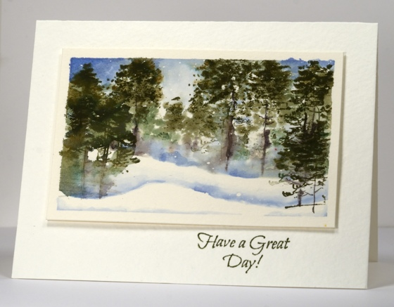 Winter forest watercolour Heather Telford