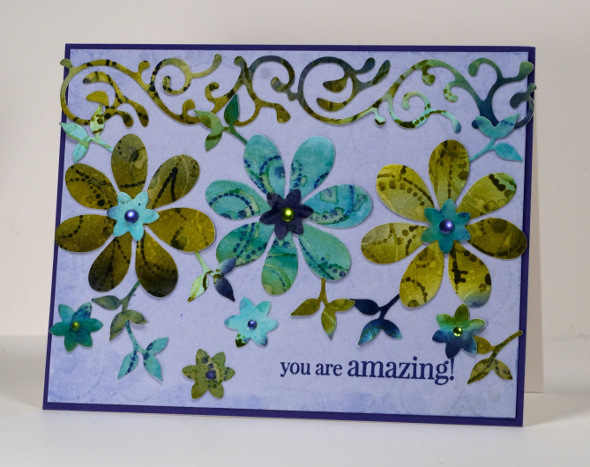 Dotted Fusion Die Cut card Heather Telford