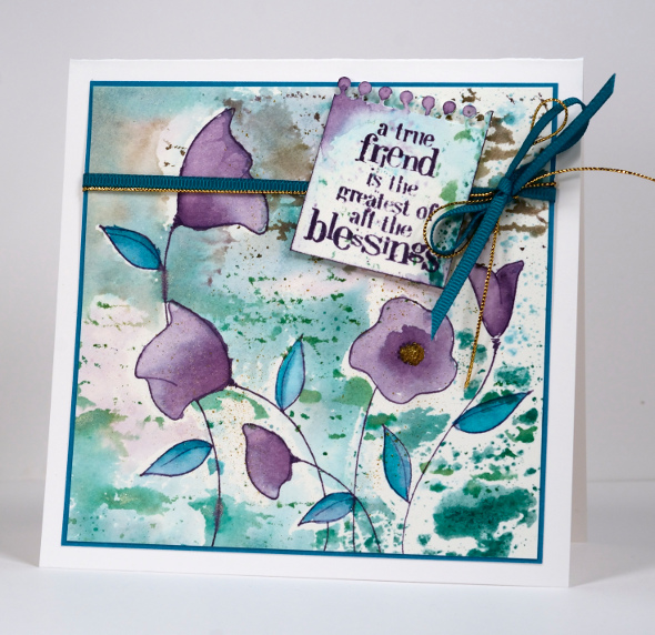 Watercolour with a stencil Heather Telford