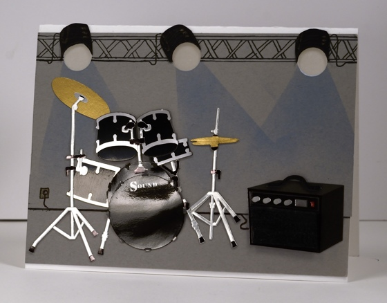 Drum kit under lights