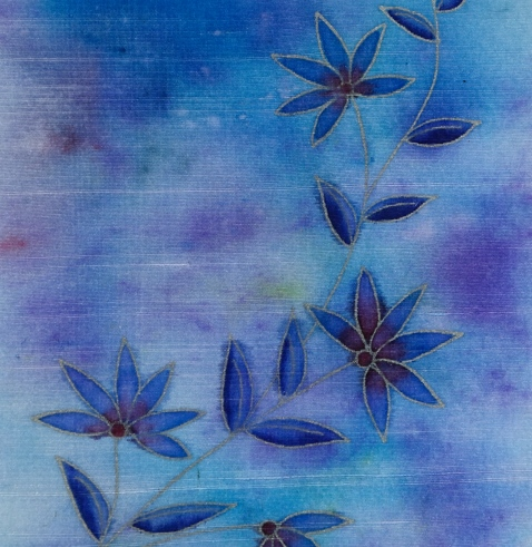 blue on silk closeup Heather Telford